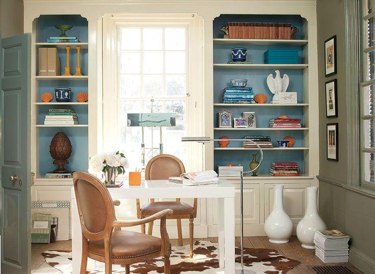 Benjamin Moore's Williamsburg Collection >> Shelf: ADVANCE, Semi-Gloss, Bracken Cream CW-105. Back of Shelf: Aura Interior, Eggshell, Wythe Blue CW-590.