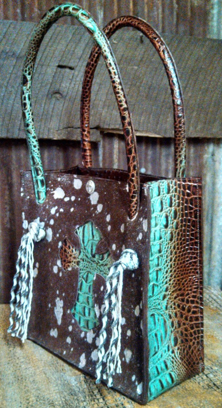 """Cowhide Purse with leather embossed back, 11""""x11"""" from H"""