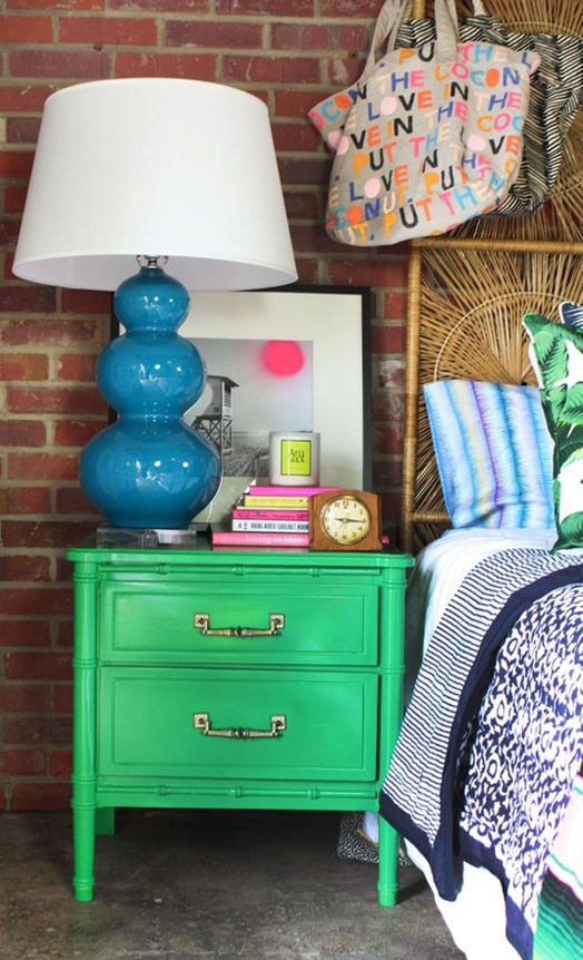 Green bedside table and blue lamp <3