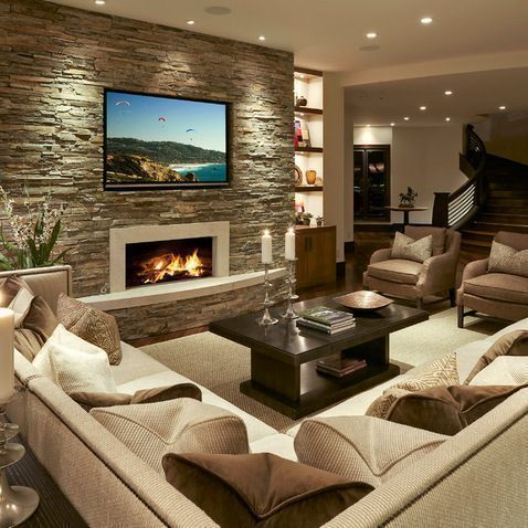 Browse home theater design and living room theater decor inspiration. Discover designs, colors and furniture layouts for your own in-home movie theater. #hometheaterdecor