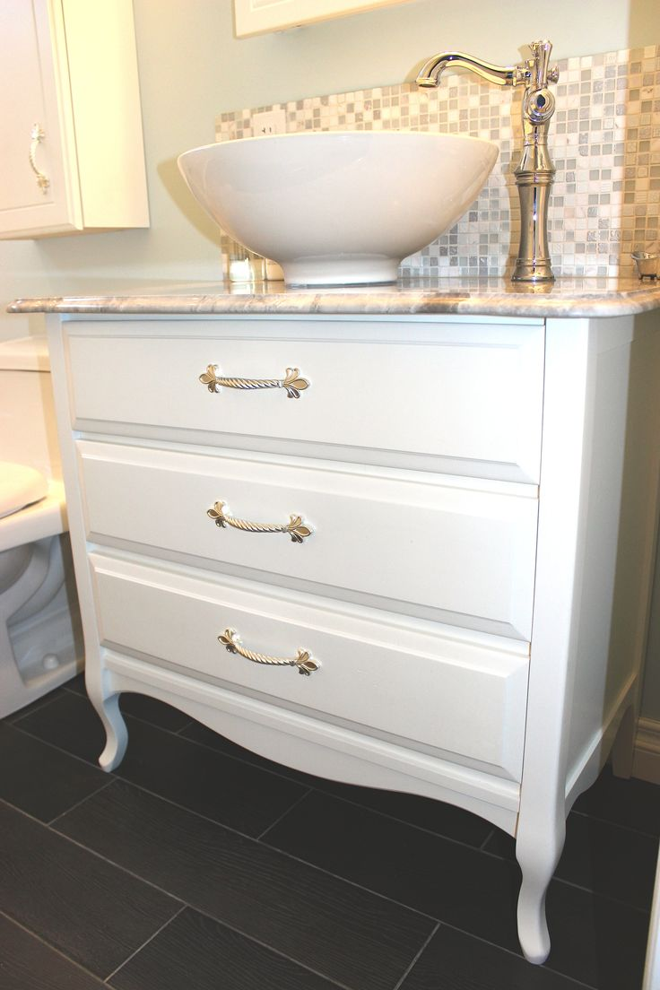 Kent bathroom vanities - Antique Dresser Refinished And Converted Into The Perfect Bathroom Vanity Granite Countertop