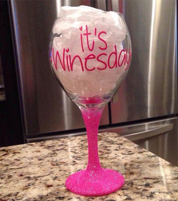 Glitter Wine Glass on Etsy, $14.00