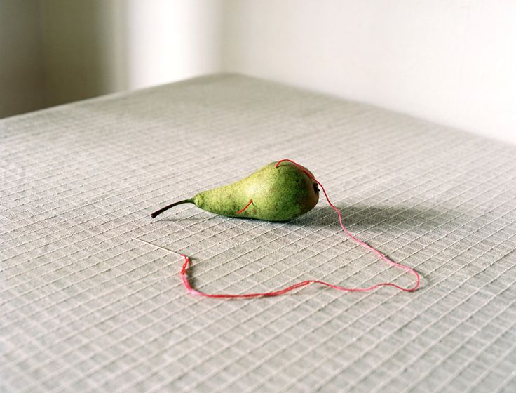 """Päärynä, Liu Susirajan """"In addition to humor, the self-portraits, still-lifes and flower pictures have unquestionable black tones. The pictures may be gently surreal, macabrely minimalistic and tragically harsh. The dialogue is broken and the plants in pieces."""""""