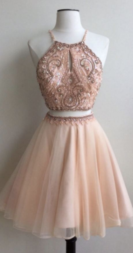 Two Pieces Homecoming Dresses,A-line Homecoming Dresses,Beaded Homecoming Dresses,Halter Homecoming Dresses,Short Prom Dresses,Party Dresses