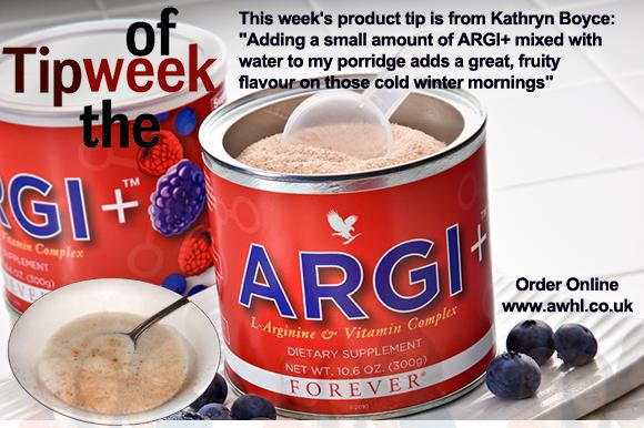 """This week's product tip is from Kathryn Boyce: """"Adding a small amount of ARGI+ mixed with water to my porridge adds a great, fruity flavour on those cold winter mornings"""" Order Online - www.awhl.co.uk"""