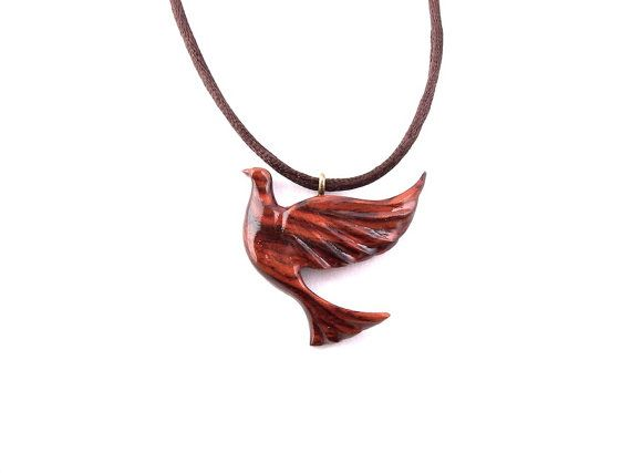 Wooden Bird Pendant Wood Pendant Necklace Bird by GatewayAlpha, $19.95
