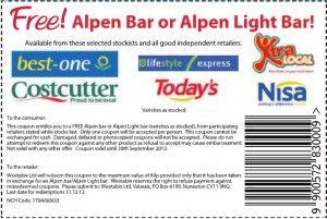 Free Alpen Bar or Alpen Light Bar