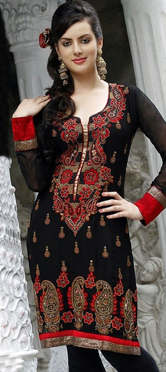 90534, Salwar Kamez, Georgette, Machine Embroidery, Black and Grey Color Family