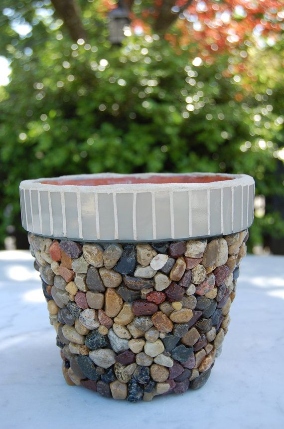 Stone Pebble and Glass Mosaic Flower Planter by 2ndCycle on Etsy, $39.00