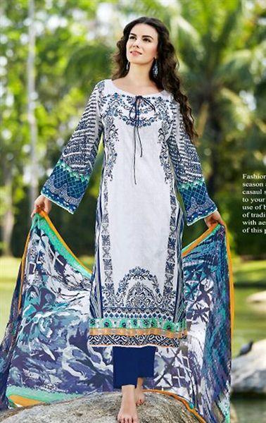 Flamboyant Off White Printed Cotton Salwar Kameez