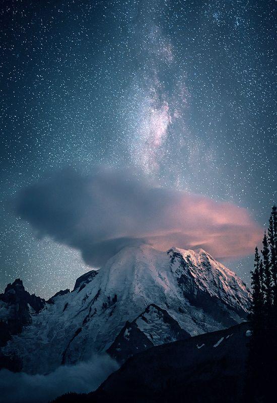 """johnnybravo20: """" Milky Way Over Mt. Rainer (by Matt Sahli) """""""