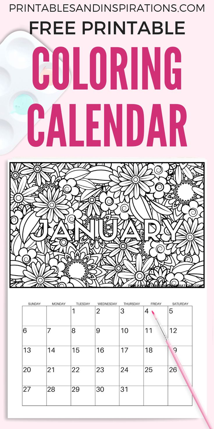 Free Printable 2020 Coloring Calendar Pages Free
