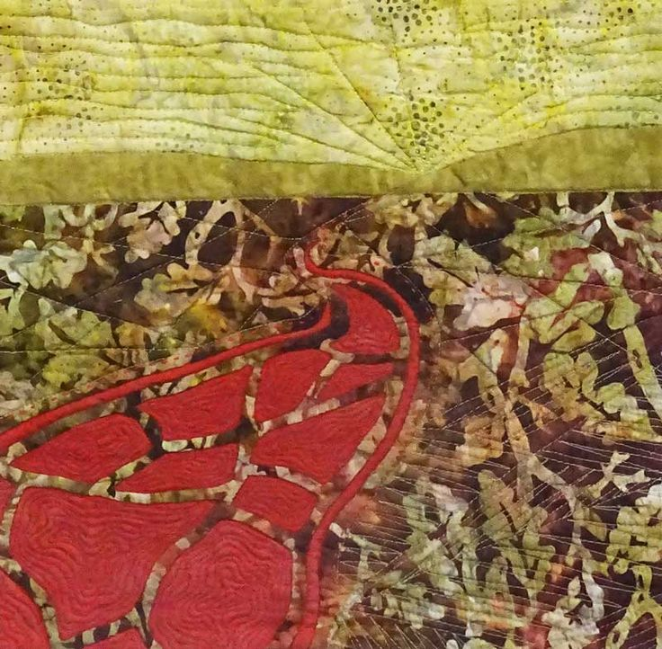 "'Red Road'  ©️ 2016 CarolynCollinsArt  12"" x 12""  Hand dyed fabric batik, reverse applique"