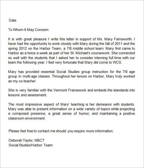 13 + Letters Of Recommendation For Teacher | Sample Templates  Resume For Letter Of Recommendation