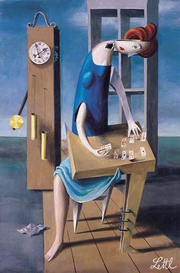 wolfgang lettl  | Wolfgang Lettl - Die Kartenlegerin (The Fortune-Teller) 1959, 54x36 cm