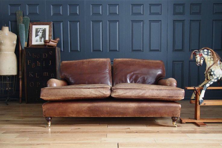 Leather Chairs of Bath 2 Seat Lansdown Howard Vintage Brown Sofa rrp £3,495 | eBay