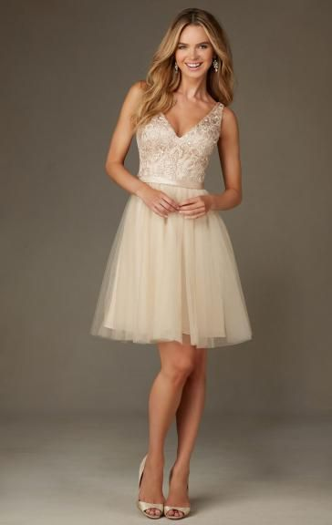 Pretty Champagne Bridesmaid Dress BNNCL0009-Bridesmaid UK