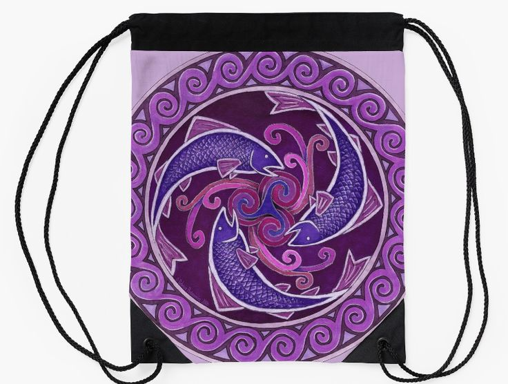 """Purple Fish Spiral Celtic Mandala drawstring bag by Rebecca Wang on Redbubble. Go out in style with these colorful drawstring bags! Bag measures 15.5"""" wide and 19.5"""" tall. Made from 100% polyester woven fabric with a wide, soft drawcord that's easy on your shoulders. Durable quality metal grommets."""