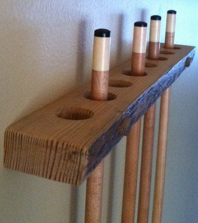 Pool Cue Rack -- Handmade of Rustic Red Pine -- Custom Made to Specifications -- Live Edge -- Rustic Pool Cue Rack with Natural Edge