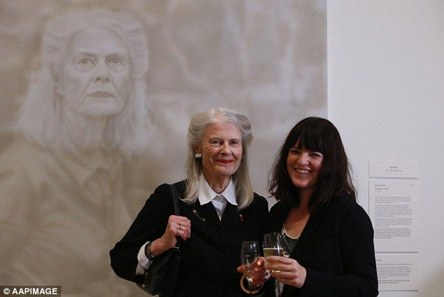 Penelope Seidler (portrait subject) and artist Fiona Lowry attended the announcement of Archibald portrait prize winner event at the Art Gallery of New South Wales 18 July 2014