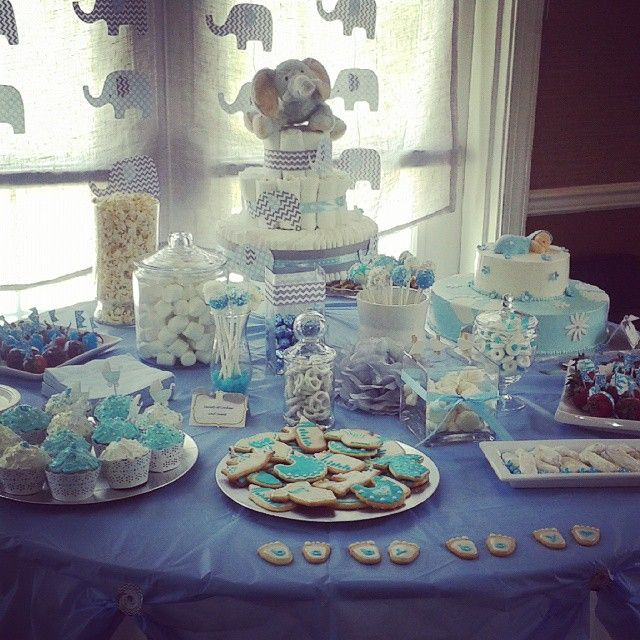 Baby Boy Baby Shower Sweet Table White And Blue Silver