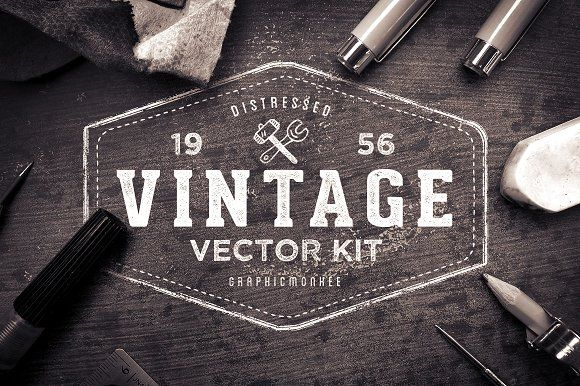 The Vintage Vector Badge Kit by Trailhead Design Co. on @creativemarket