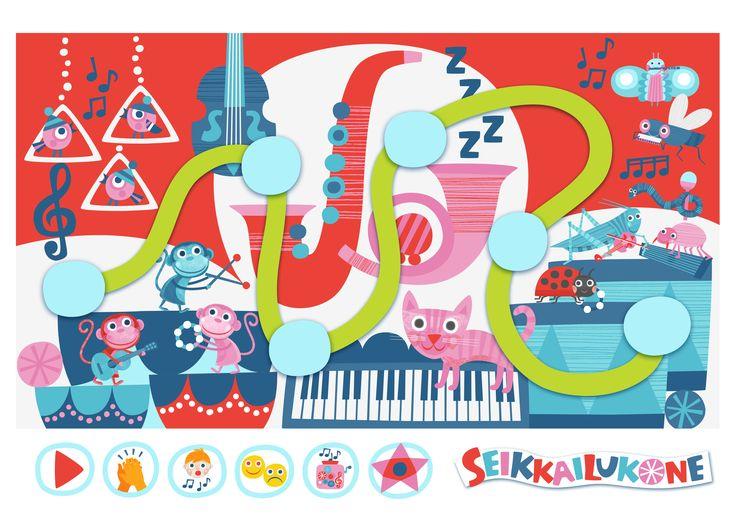 Seikkailukone | tulostettava | paperi | kartta | peli | tehtävä |  musiikkimaa | lapset | game | map | children | kids | free printable | Pikku Kakkonen