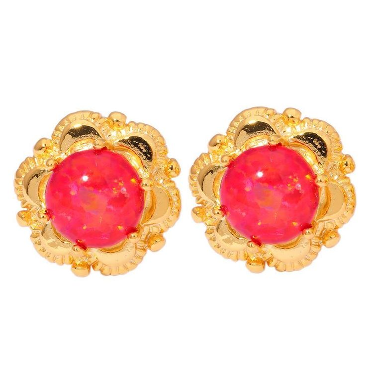 Red Opal Silver Yellow Gold Filled Women Jewelry Gemstone Stud Earrings OH3826