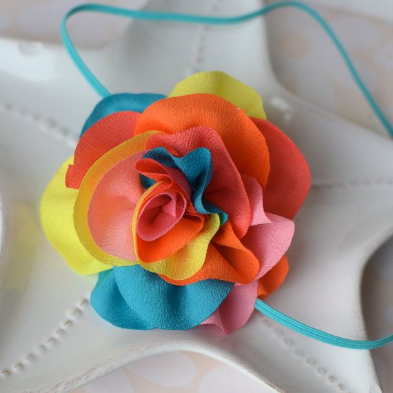 Big Rainbow Chiffon Flower Headband Pink Yellow by MyLittlePixies, $9.00