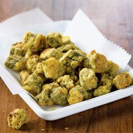 This is a recipe for oven-fried okra- just 70 calories for 1/2 cup.