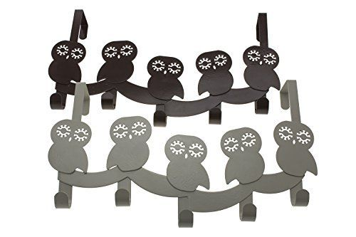 Owls - Over the Door Organizer with 5 Hooks | Metal | Decorative Over the Door Hooks For Bedroom, Kids Room, Bathroom | Coats, Clothes, Towels, Robes | By Comfify (Misty Grey)