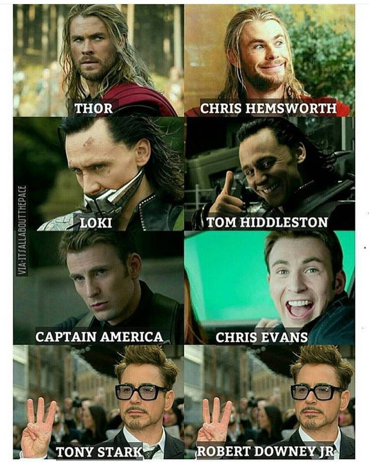 2 faces Marvel characters vs actors  Tony is the same