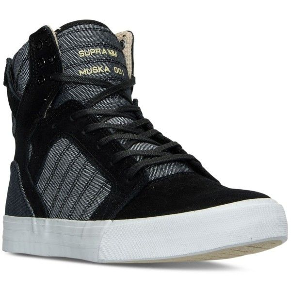 Supra Men's Skytop High-Top Casual Sneakers from Finish Line ($115) ❤ liked on Polyvore featuring men's fashion, men's shoes, men's sneakers, mens high top shoes, mens black hi top sneakers, mens hi tops, mens sneakers and mens high top sneakers