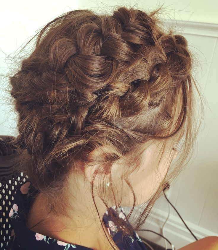 Double crown braid on this brunette bridesmaid