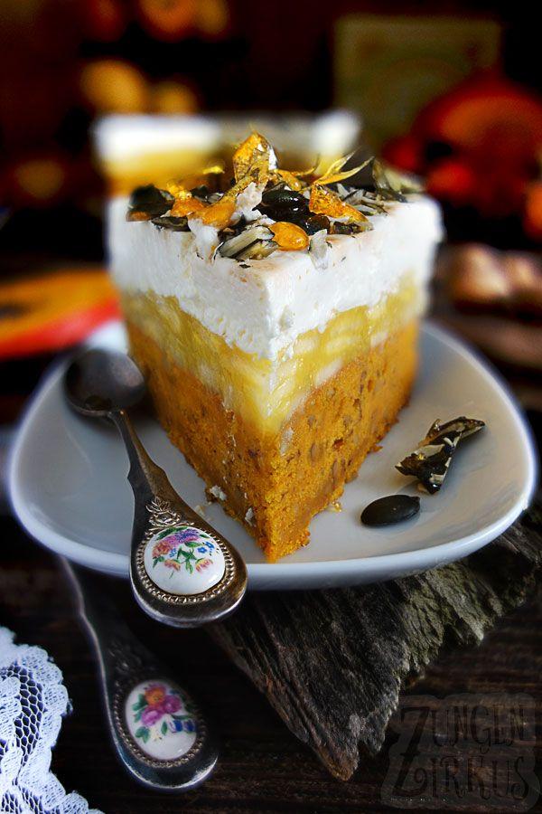 Kürbiskuchen mit Apfelfüllung und Mascarpone-Creme