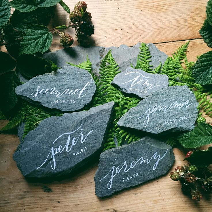 Calligraphy Slate place cards - a Beatrix Potter inspired tea party by Bespoke Strokes Calligraphy