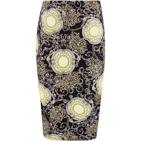 Boohoo Giselle Elaborate Gold Chain Print Midi Skirt | Boohoo ($9) ❤ liked on Polyvore featuring skirts, calf length skirts, elastic waist skirt, gold skirt, gold midi skirt and midi skirt