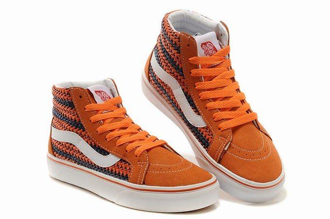 Vans SK8-Hi Weave Orange Retro Womens Shoes #Vans