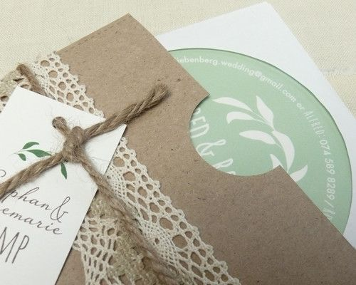 Rustic disc-pouch wedding invitation by Little Red Rabbit