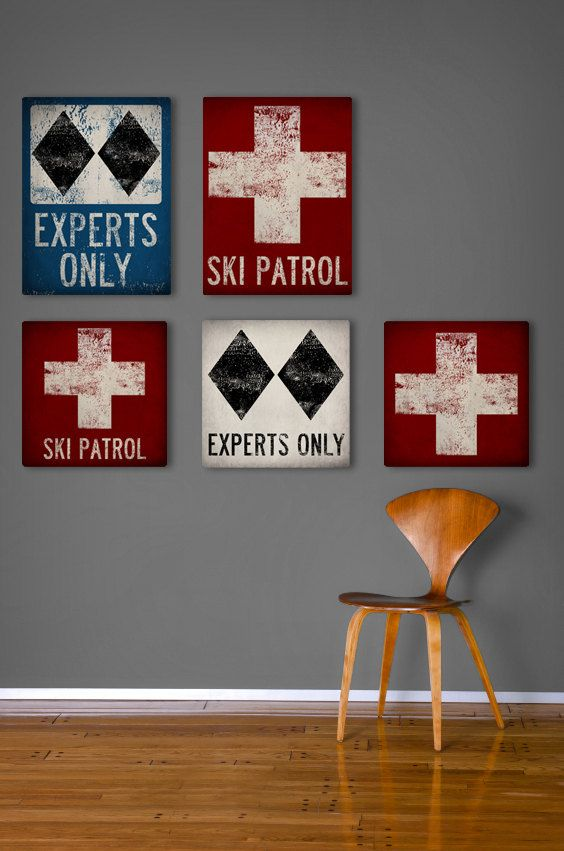 Choose 1 piece - SKI PATROL Black Diamond Snowboard Graphic Art Stretched Canvas Ready-To-Hang 12x12 or 12x16 You Choose