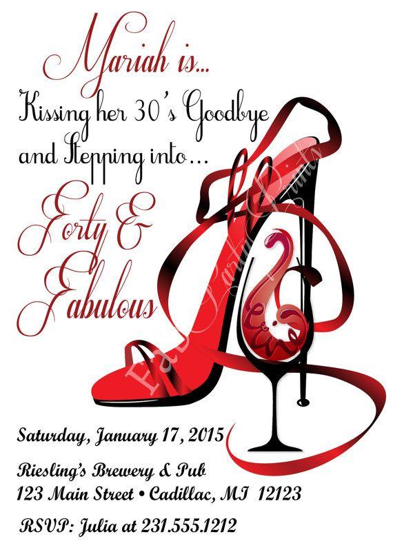 Red Shoe Red Wine Birthday Invitation   Birthday by FabPartyPrints