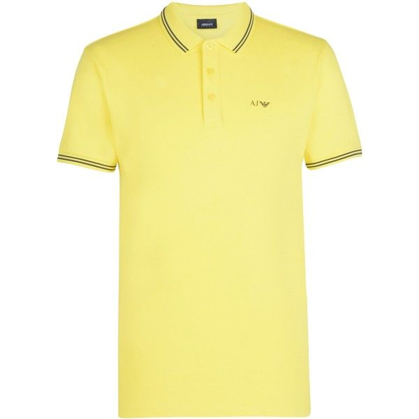 Armani Jeans Short-sleeved Polo ($125) ❤ liked on Polyvore featuring men's fashion, men's clothing, men's shirts, men's polos, yellow, mens yellow polo shirt, mens polo shirts, mens yellow shirt, mens logo t shirts and mens short sleeve shirts