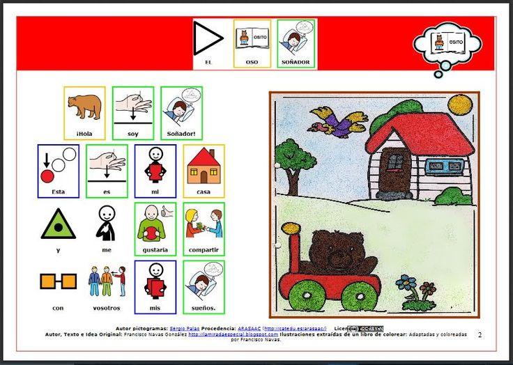 """MATERIALES - Cuentos adaptados con pictogramas """"El oso soñador"""". http://arasaac.org/materiales.php?id_material=599"""