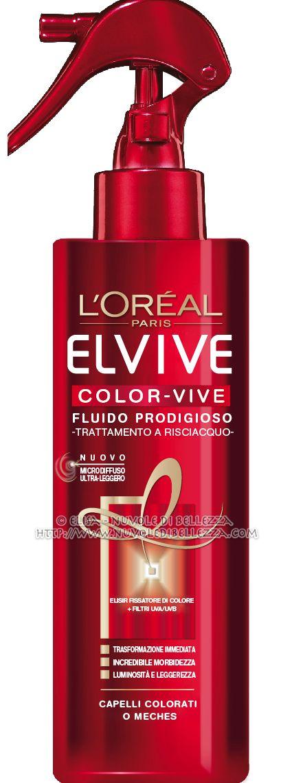 ELVIVE COLOR-VIVE FLUIDO PRODIGIOSO....  per preservare l'intensità e la luminosità del colore ed esaltarne i riflessi, a lungo. ... trattamento a risciacquo ultra-leggero  Vaporizzato sui capelli bagnati, dona alla fibra del capello un'incredibile morbidezza e una brillantezza sublime, per un colore esaltato e preservato a lungo. L'assorbimento è immediato, i capelli risultano incredibilmente morbidi, setosi fino alle punte. Spray 200 ml -  prezzo al pubblico € 8,50