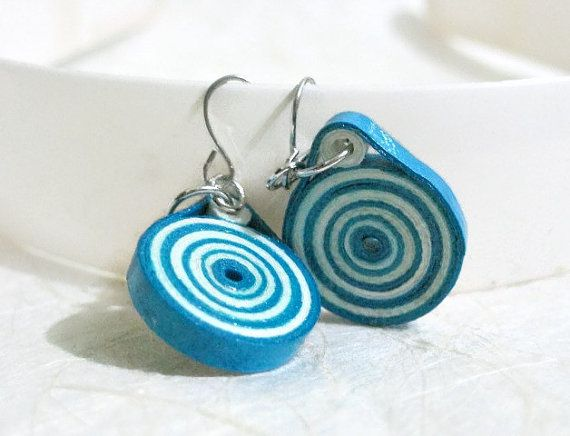 Quilled Blue and White Paper Earrings - Quilling Jewelry - Paper Jewelry