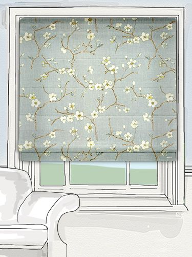 hand drawn oriental cherry blossoms trail across the fabric in a timeless and tranquil fashion. The blossoms with their delicate shading and superb detailing bring to mind a watercolour painting and all its beauty... #floral #roman #blind