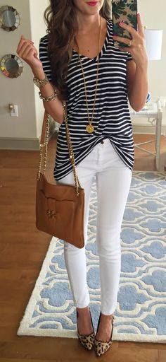 Love the striped top, white skinny jeans, and animal print heels. Business casual!