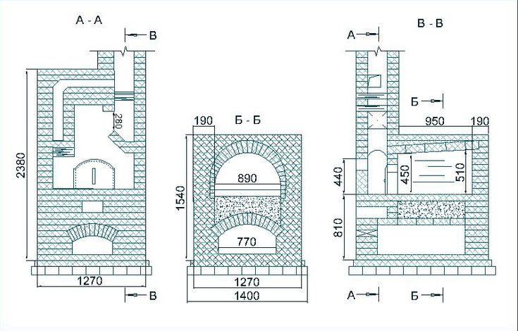 Russian furnace bricks for furnaces and fireplaces, design of brick kilns