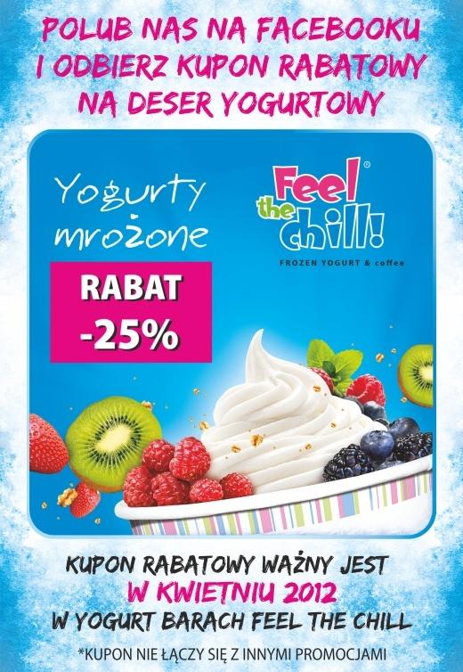 Grafika kuponu rabatowego, który jest rozdawany na Facebooku z użyciem aplikacji naszego autorstwa przez sieć Feel The Chill.