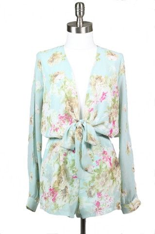 Fahrenheit Floral Romper - Mint - $44.00 | Daily Chic Bottoms | International ShippingArrival Weeks, Sleeve Rompers, Floral Rompers, Slit Sleeve, Fahrenheit Floral, Daily Chic, Floral Slit, Resorts Wear, Mint Floral